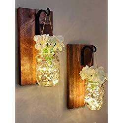 Farmhouse Hanging Mason Jar Wall Sconce With LED String Lights - White Hydrangea - Wrought Iron Hook (Set of 2) Handmade In The USA! - Rustic Farmhouse Mason Jar Decor