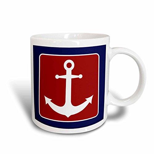 3dRose 165796_1 Red White And Blue Nautical Anchor Design Ceramic Mug, 11 oz, Multicolor