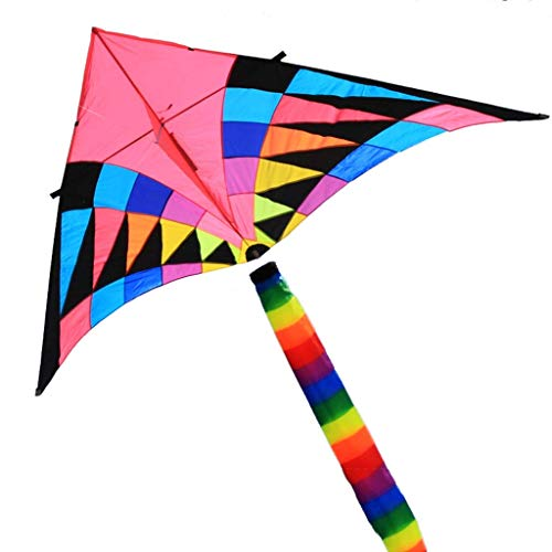 B&MF Triangle Kites, Large Tail Long Breeze Outdoor Easy to Fly Kites Travel for Adults Playground for Children, 280 140CM,A