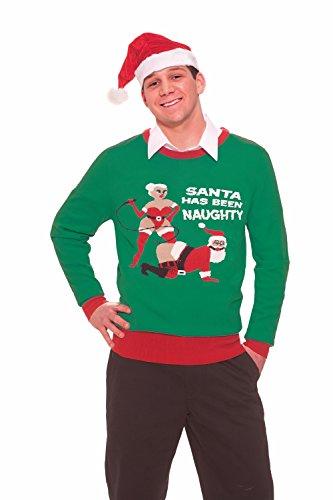 Green Forum Novelties Unisex Naughty Santa Novelty Christmas Sweater, Red/Green X-Large