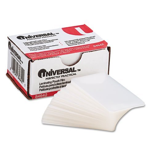 Universal Products - Universal - Clear Laminating Pouches, 5 mil, 2-3/16 x 3-11/16, Business Card Size, 100 - Sold As 1 Box - Resists temperatures, liquid penetration and rough handling. - Bonds well to card stock, inkjet and other porous papers with ligh