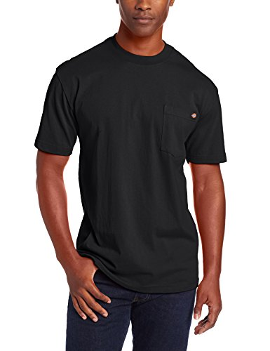 Dickie's Men's Short Sleeve Heavyweight Crew Neck Pocket T-Shirt, Black, X-Large