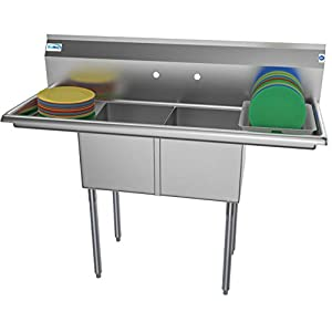 KoolMore – SB141611-12B3 2 Compartment Stainless Steel NSF Commercial Kitchen Prep &...