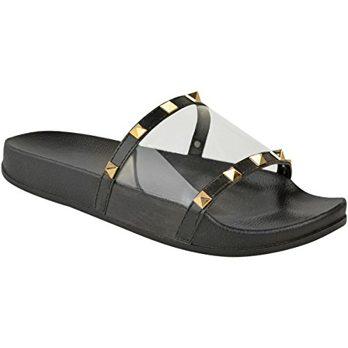 Fashion Thirsty Heelberry Womens Ladies Flat Studded Perspex Clear Sliders Summers Sandals Flip Flops Size Black 5PGQNM9rA