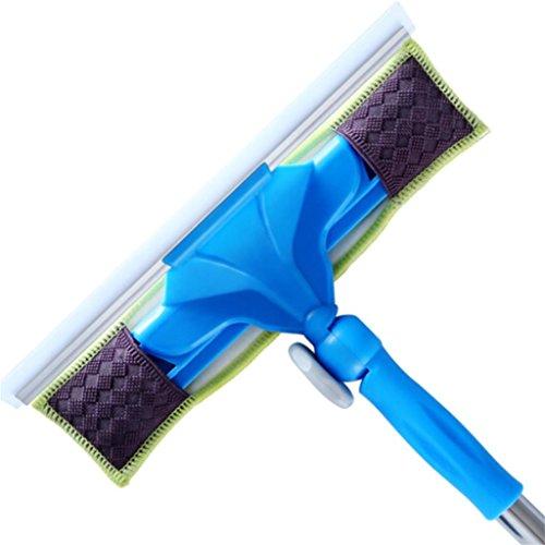 Ménage Tige télescopique Double face Brosse en verre bleu