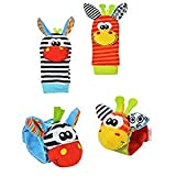 SMTF Cute Animal Soft Baby Socks Toys Wrist Rattles and Foot Finders for Fun Reindeer Set 4PCS (style 2)