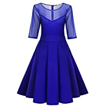 Meaneor Women's A-Line Half Sleeve Pleated Little Cocktail Party Dress