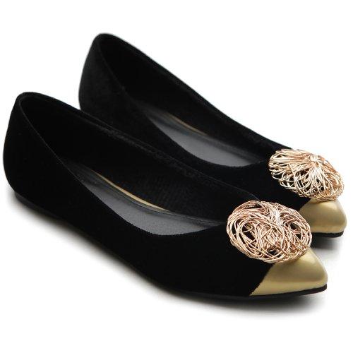 Ollio Dames Balletschoenen Comfort Luxueus Accent Multi Kleur Plat Zwart