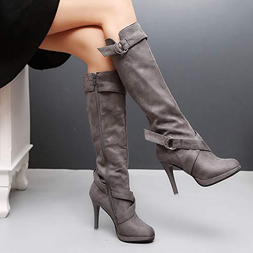 Señoras hasta La Tacones Plataforma De Martin ALIKEEY Gris Rodilla Botas Largas Mujeres Hebilla Roman Zapatos Botas Las vwxPE4