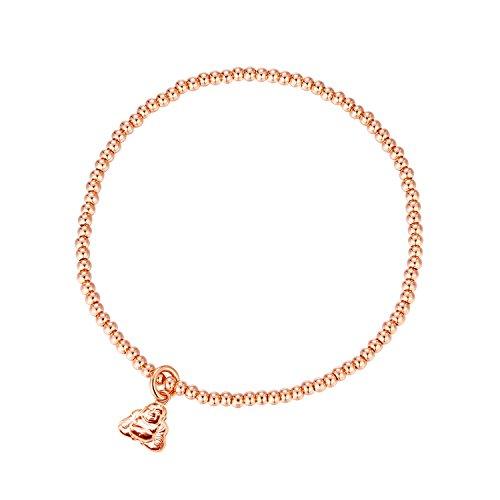 - MetJakt Sleek Elastic Beads 18K Gold Plated Classic Stretch Bracelet with Various Pendants (Buddha, Rose-Gold-Plated-Base)