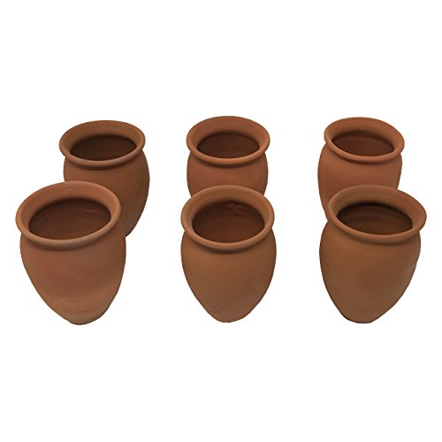 Cantaritos/Jarritos de Barro, 12 oz. (set of 6). Especiales para Tomar Mezcal, Tequila y Michelada en Fiesta Mexicana. Handmade Mexican Clay Cups/Pots. Perfect for Hot Chocolate, Espresso and Lattes.