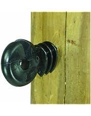 Field Guardian Wood Post Screw-in Ring Polyrope Insulator, Black