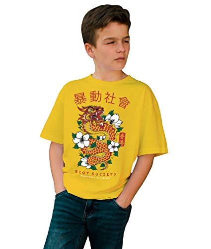 (Riot Society Chinese Dragon Boys Tee - Gold, X-Large)