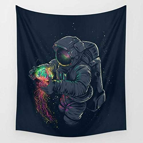 QCWN Fantacy Galaxy Planet Tapestry, Cool Spaceman Astronaut Starry Art Print Wall Hanging Tapestry for Home Decor. Multi 78x59Inc