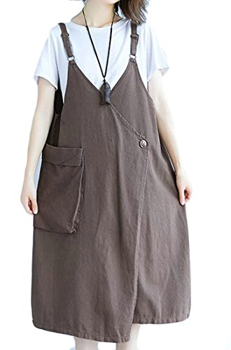 Size Overall Camisole Light Stylish Denim Cromoncent Loose Brown Distressed Plus Dress Women's HxW17wRSC