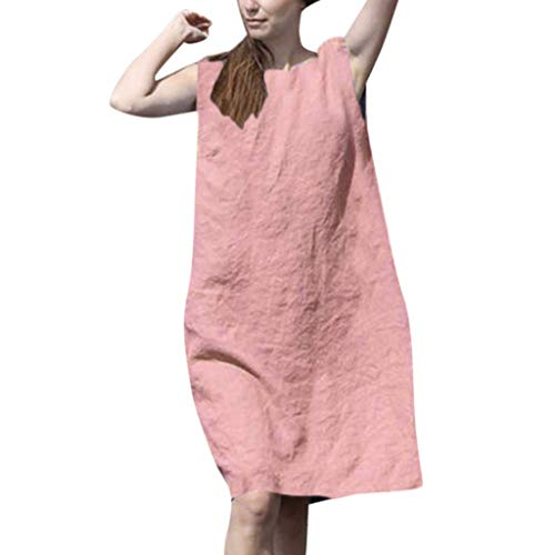 (Summer Casual Swing T-Shirt Dresses Beach Cover up with Pockets,Londony Women's Simple T-Shirt Loose Dress Pink)