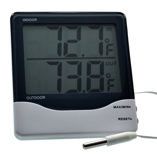 Thermco In-Door/Out-Door Digital Thermometer, Large Digit -0/50C&F & -50/70C&F, Min-Max,