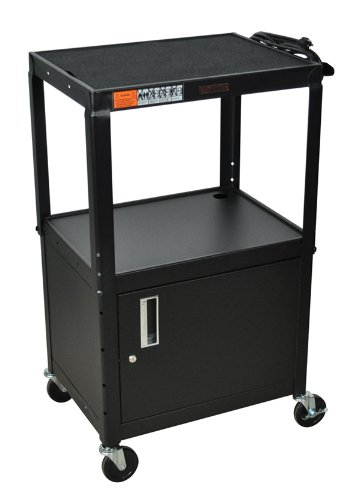 H WILSON W42ACE Adjustable Height Cabinet AV Cart, Black (Locking Cabinet Carts)