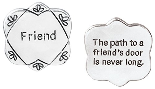 BANBERRY DESIGNS Friend Pocket Token Charm Gift for Best Friend - The Path to a Friend's Door Is Never Long - Flower Shaped Engraved Metal Memento Keepsake - Birthday Gift for Friend - 1.25 Inch