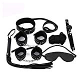 XSEXO 7 Pcs/Set Restraint Set Whip, Handcuffs, Blindfold, Gags, Collar, Leash, Choker (Black)