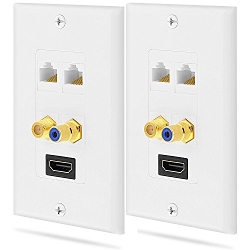 Fosmon Gold Plated HDMI with Ethernet/RCA Mono Audio/F Connector Coaxial/Dual Ethernet Combo Wall Plate Face Cover for HDTV, Home Theater, DVD, Cable Satellite, PS3/PS4, Nintendo Switch - 2 Pack