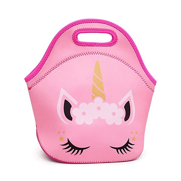 Moonmo Cat Face Unicorn Face Insulated Neoprene Lunch Bag for Women and Kids - Reusable Soft Lunch Tote for Work and School (Cat Black) 4