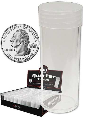 BCW 4 Round Coin Storage Tubes with Screw Caps - Penny - Nickel - Dime & (Barber Dime Roll)