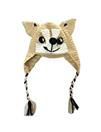 BIBITIME Funny Dog Knitted Animal Beanie Hat Braid Earmuff Pointed Nose Warm Cap