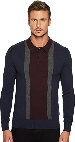 Ben Sherman Men's LS Color Block Polo, Navy, (Ben Sherman Cotton Sweater)