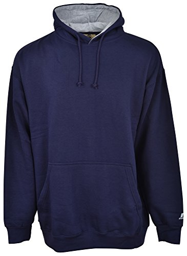 Russell Athletic Men's Big & Tall Fleece Pull-Over Hoodie, Navy/Heather Grey, 3X Tall