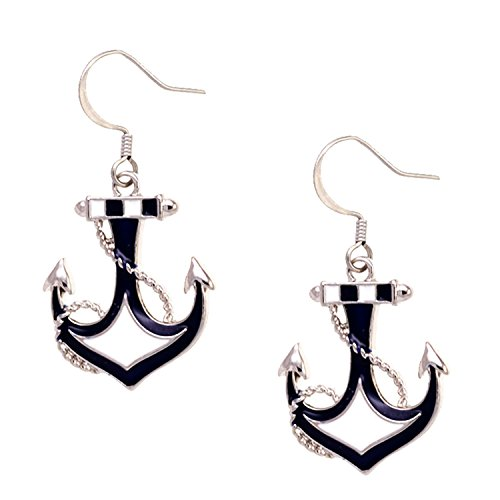 Anchor and Rope Drop Earrings SilverTone and Inlays by Cape Cod Jewelry-CCJ (Earrings Drop Anchor)