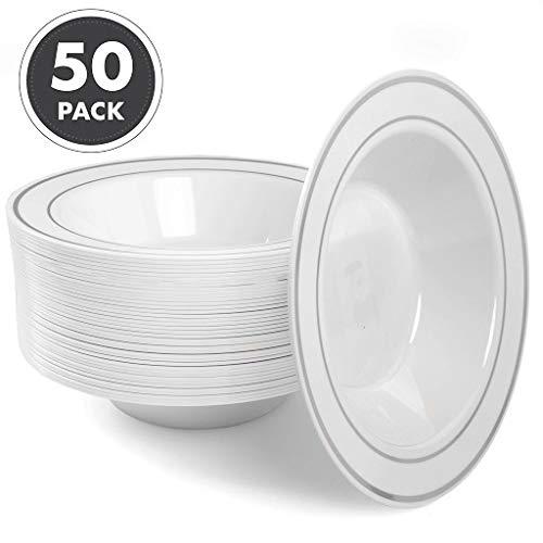 (12oz Plastic Bowls Set of 50 - White Silver Rim 12 oz Disposable Bowl Pack)