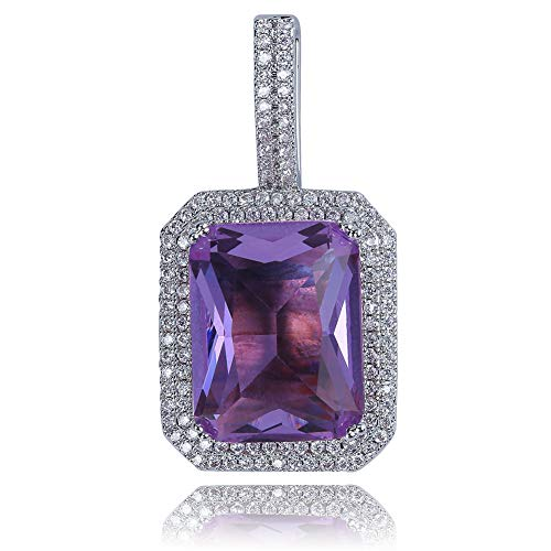 (JINAO Hip Hop 6 Colors Solitaire Pendant Cubic Zirconia Halo Pendant Necklace with Solid Back (Amethyst, Silver-Plated-Stainless-Steel))