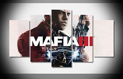 Mcanvas 5pcs Mafia 3 Mafia III Game Gun Car Canvas Print Wall Art Painting Home Modern Decoration (Mafia 3 Best Car)