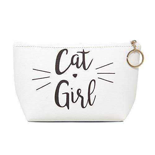 Me Plus Women Small Portable Travel Cosmetic Organizer Clutch Pouch Bag with Zipper Closure (10 Patterns) (CAT GIRL) -