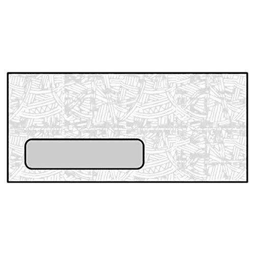 #10 Laser Check Envelopes, 4-1/8'' x 9-1/2'', 24#, White, Diagonal Seam, Black Wesco Inside Tint, Poly Window (Box of 500)