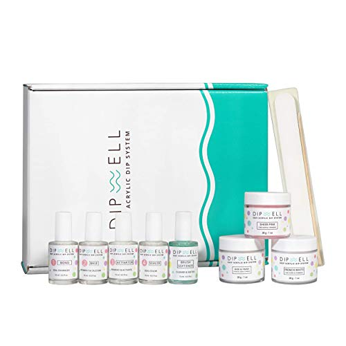 (Dipping Nail Starter Kit, Easy Acrylic Powder and Gel Resin Kit For Dip, Starter System For French Set by DipWell Nails (Comes With Bond, Base, Activator, Sealer, Brush Softener + 3 Powder Jars))