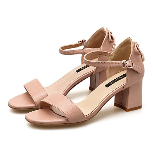 grueso sandalias Talón Pink verano hebilla femenino tacón arco Jqdyl Tacones 14EES