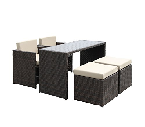 Handy Living 5 piece Wicker Indoor Outdoor Dining Set in Beige