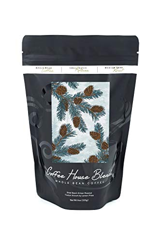 Blue Spruce - Branch, Pinecones and Needles (8oz Whole Bean Small Batch Artisan Coffee - Bold & Strong Medium Dark Roast w/Artwork)