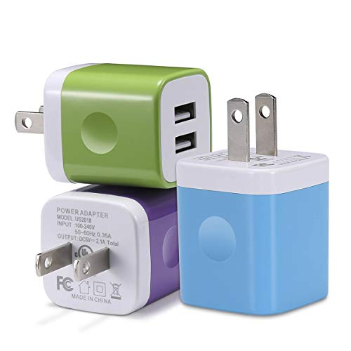 USB Plug, Wall Charger, WITPRO 3-Pack 2.1A Dual USB Wall Charger Charging Block Cube Compatible with Phone Xs Max XR X 8 7 6 Plus 5S 4S, Samsung, LG, Sony, Moto, Nokia, Camera, Kindle and More
