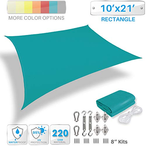 Patio Paradise 10 x 21 Waterproof Sun Shade Sail with Stainless Steel Hardware-Turquoise Green Rectangle UV Block Durable Awning Canopy Outdoor Garden Backyard