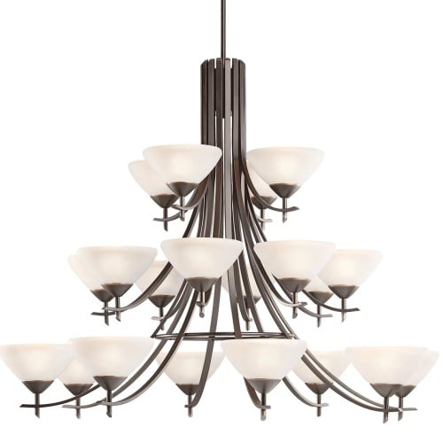Kichler Lighting 1861OZW Olympia 20-Set 3-Tier Chandelier, Olde Bronze Finish with Satin Etched White Glass