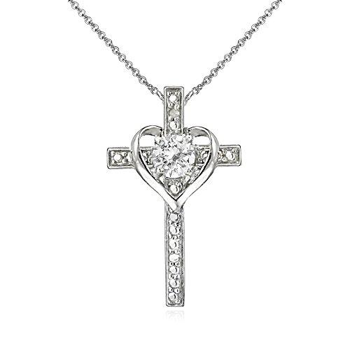 Sterling Silver White Topaz Cross Heart Pendant Necklace for Girls, Teens or Women