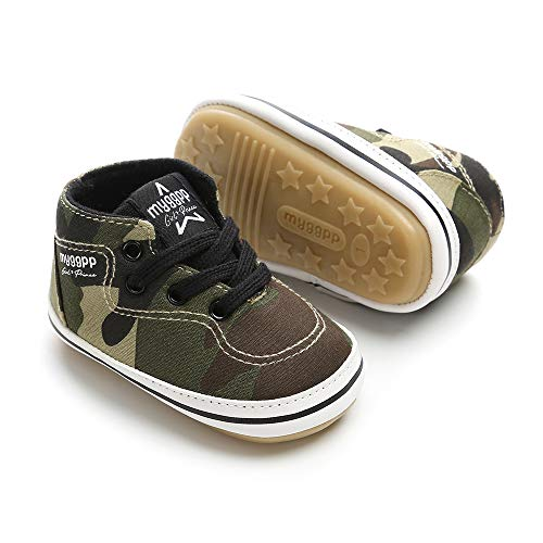 (Baby Girls Boys Canvas Shoes Soft Sole Toddler First Walker Infant High-Top Ankle Sneakers Newborn Crib Shoes (M: 4.73 inch(6-12 Months), D - Army Green))