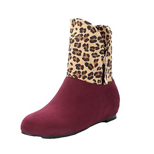 AgooLar Women's Pull-On Frosted Round-Toe Low-Heels Assorted Colors Boots Red tLYiV0O5