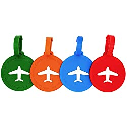 Travel Luggage Tags Suitcase Labels Bag Tags For Men Women Kids,Set of 4,4 Colors (Round)