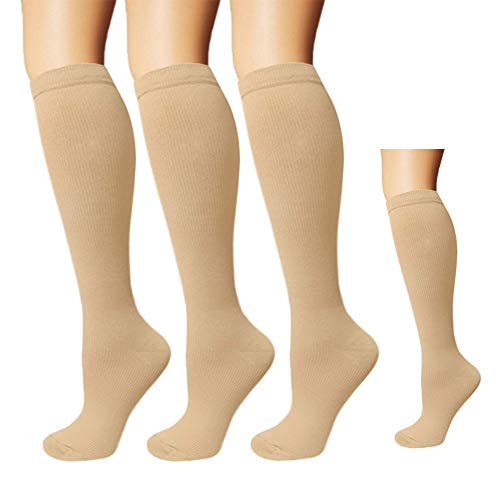 3 Pairs Knee High Graduated Compression Socks For Women and Men - Best Medical, Nursing, Travel & Flight Socks - Running & Fitness - 15-20mmHg (L/XL, Nude)