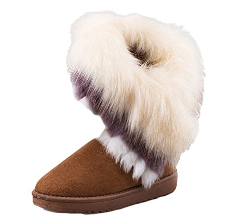 Warm B fur Faux boots Ankle Rabbit Tassel Shmily Shoes Women's Brown1 Snow Flat 61dEwwq