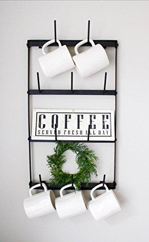 Claimed Corner Mini Wall Mounted Mug Rack - 4 Row Metal Storage Display Organizer For Coffee Mugs, Tea Cups, Mason Jars, and More. by Claimed Corner (Image #6)